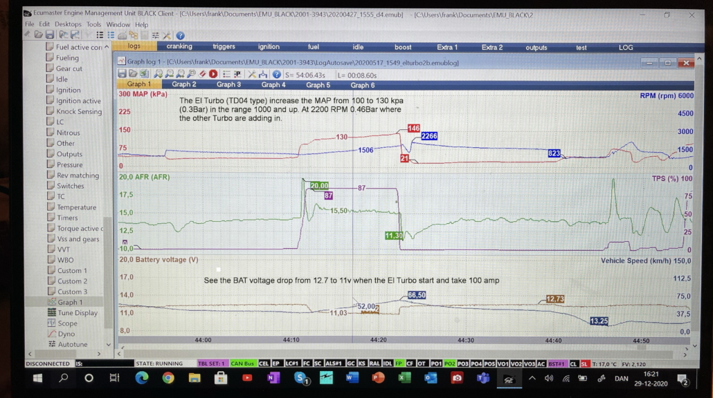 Data log El Turbo 1. NOTE VBAT drop at 100A to 11V